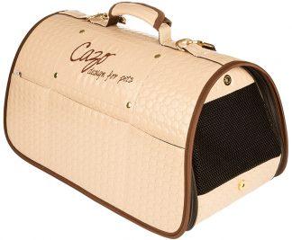 Transportná taška Cazo Diamond béžová, spĺňavšetky náročné kritéria pri transportepsa alebo mačk, ktorými sú bezpečnosť, kvalita, prievzdušnosť.