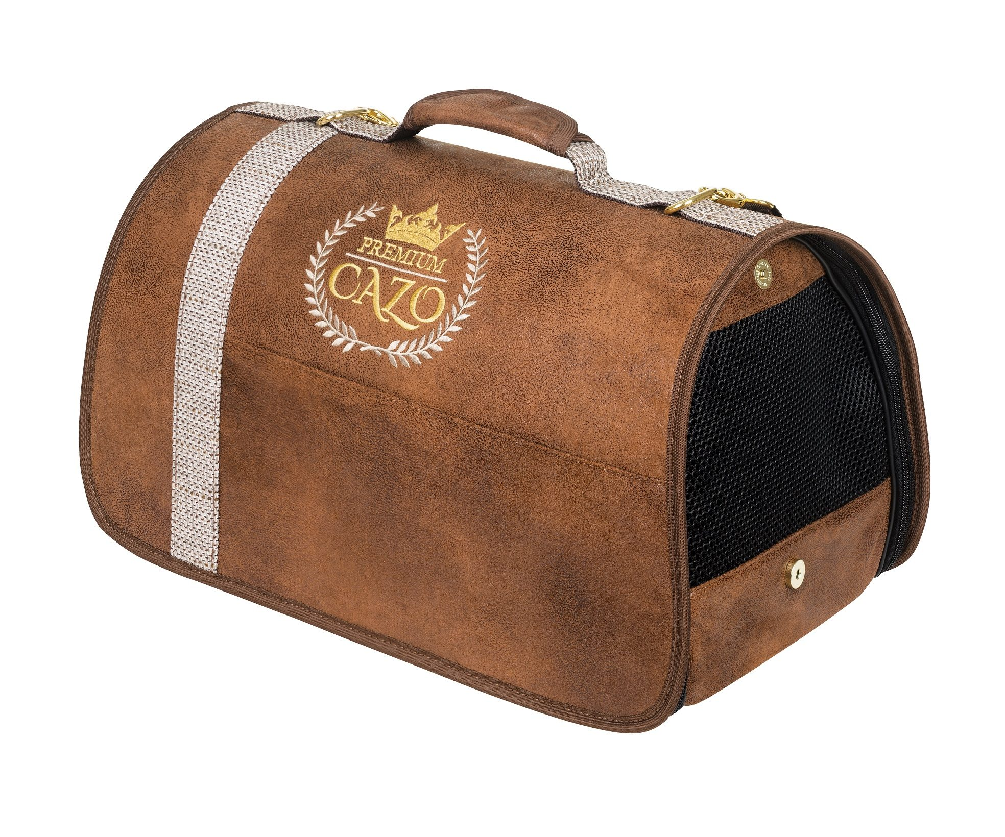 Transportná taška Cazo Premium, spĺňavšetky náročné kritéria potrebné pre pohodlie pri transporte vášho domáceho maznáčika, ktorými sú bezpečnosť, kvalita, prievzdušnosť, komfort, moderný dizajn, originalita a jednoduchosť v údržbe.