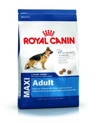 ROYAL CANIN Maxi Adult 15kg pre veľkých psov (26 - 45 kg) od 15-tich resp. 18-tich mesiacov až do 5-tich rokov. Obsahuje receptúru Optimal Digestive, vďaka ktorej krmivo nespôsobuje tráviace ťažkosti. Druh mäsa: mäsová zmes Vek psa: dospelý Vhodné pre plemená: veľké plemená Kvalita : prémiové Kód: RCM A15